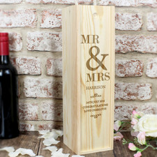 Personalised Mr & Mrs Wedding Wine Box