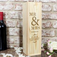 Personalised Mr & Mrs Wedding Wine Box