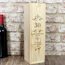 Birthday Personalised Wooden Wine Presentation Box