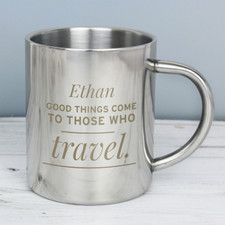 Personalised Metal Mug For A Traveler