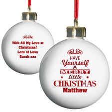Personalised Christmas Bauble - Merry Little Christmas Design