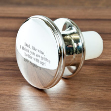 Engraved Silver Plated Wine Bottle Stopper