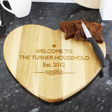 Engraved Wooden Heart Chopping Board