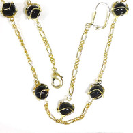 14k Gold Plated Stationed Beads Necklace, Earrings & Bracelet Gift Set