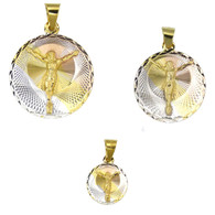 14k Gold Plated 3 Tone Jesus Christ Laser Cut Circle Charm Pendant