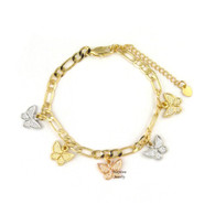 14k Gold Plated 3-Tone Butterfly Dangling Charms Bracelet