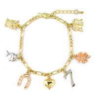 14k Gold Plated 3 Tone Lucky Charms Bracelet