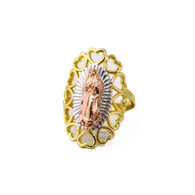 14k Gold Plated Virgen de Guadalupe Heart Details 3 Tone Ring