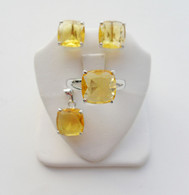 925 Silver Small Square Quartz Set
