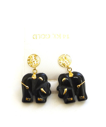 14k solid gold jade pendant 14k solid gold jade good fortune elephant earrings freerunsca Images
