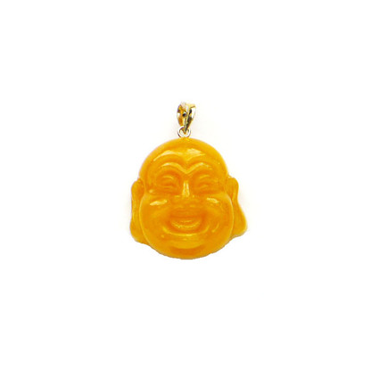 14k solid gold bail yellow jade buddha head pendant image 1 mozeypictures Choice Image