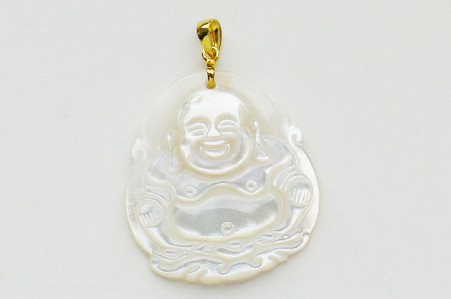 14k solid gold bail mother of pearls buddha pendant mozeypictures Image collections