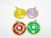 "14K Solid Gold ""Good Fortune"" Small Doughnut Jade Pendant"