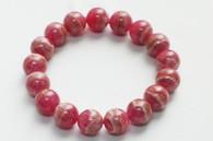 Marble Rhodochrosite Stretchy Bead Bracelet
