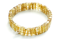 Gold Rutilated Quartz Rectangle Stretchy Bracelet