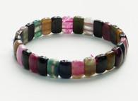 Rainbow Tourmaline Small Rectangle Stretchy Bracelet