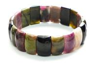 Rainbow Tourmaline Large Rectangle Stretchy Bracelet