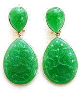 14K Gold French Back Carved Jade Teardrop Earrings