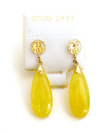 "14K Gold ""Good Fortune"" Flat Teardrop Earrings"