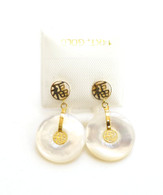 "14K Gold ""Good Fortune"" Mother of Pearl Doughnut Drop Earrings"