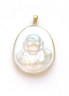 14K Gold Bail Mother of Pearl Buddha Pendant