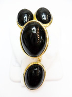 14K Gold Black Jade Oval Set