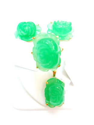 14K Gold Jade Rose Set