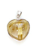 925 Silver Gold Rutilated Quartz Heart Pendant