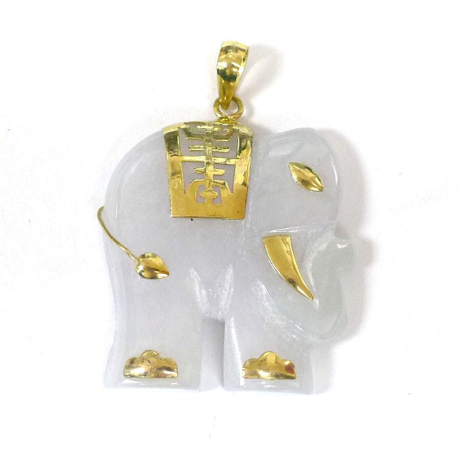 14k gold white jade elephant pendant aloadofball Gallery