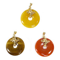 14k Solid Gold Bail and Frog Doughnut Shape Pendant