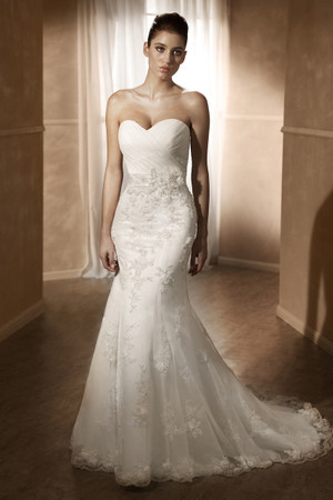 Satin slim A-line wedding dress