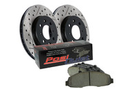 Bolster your braking performance and your appearance with the StopTech Drilled & Slotted Street Brake Kit Custom designed with all the gear your daily driver needs to stop on a dime and stop traffic at the same time Includes StopTech Drilled & Slotted Rotors paired with Posi Quiet Brake Pads