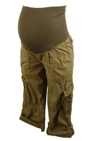 Brown Motherhood Maternity Poplin Cargo Convertible Pants (Gently Used - Size Small)
