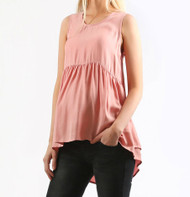 *New*  Blush Pink 100% Silk Madeleine Maternity Pearl Ruffle Top (Size Large)