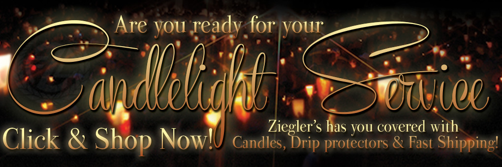 Zieglers has your congregational candle needs! From beeswax, to 51 percent beeswax and a vast selection of wax drip protectors! Browse and Shop now!