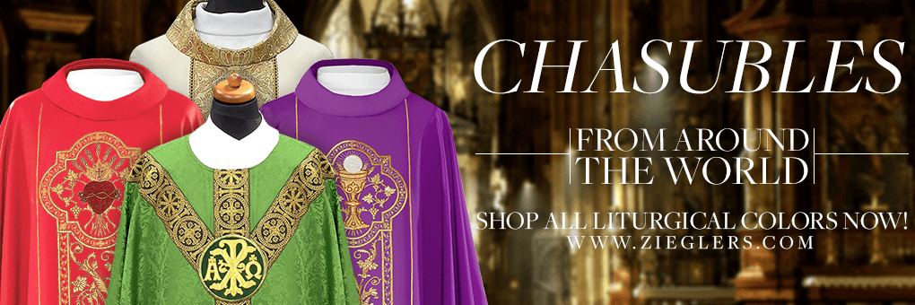 Catholic Priest Chasubles with embroidery in 4 liturgical colors white green red purple made in USA Italy Poland Belgium at Zieglers