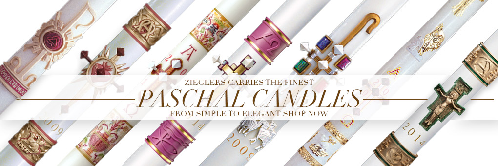 Order and Buy Paschal Candles in elegant beeswax and simple designs at the best price only at zieglers catholic church supply store