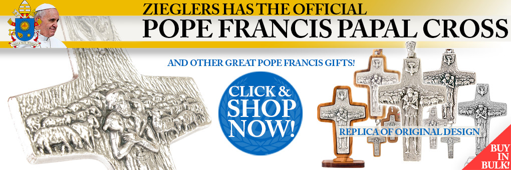 Official Pope Francis Papal Pectoral Cross Replica by Antonio Vedele and made in Italy buy in bulk and save from Zieglers Catholic Church Gifts today!