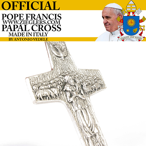 Original Pope Francis Papal Pectoral Cross image of Holy Spirit dove and good shepherd with sheep made in Italy Antonio Vedele