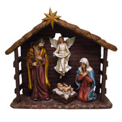 5 Piece Nativity Set Includes Infant Jesus with Manger Mary Joseph Angel Jesus Can Be Removed From Manger Stable Is Included made of High-Quality Resin stable stands 13 inches high PT9217A