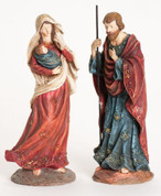 Holy Family Nativity Set 2 Pieces in Red & Blue Garments made of Resin stand 11 and 1 quarter inches tall RO35746