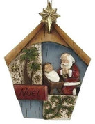 Kneeling Santa Christmas Ornament Message reads Noel Star and Trees made of Resin measures 4 inches RO34448