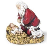Kneeling Santa adores Jesus Christmas Figurine with Lamb made of Polymer 2 and 1 half inches RO35860