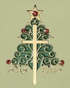 Cross and Tree Christmas Ornament Pewter Painted Green and Studded With Rhinestones with Star on top measures 3 and 1 half by 2 and 1 quarter by 1 quarter inches RO38575