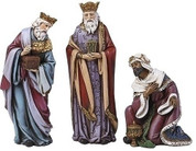 3 Piece Nativity Set three kings in Rich Colors made of Resin stands 6 inches tall RO34372