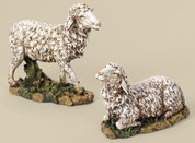 Two Nativity Lambs 1 Standing 1 Resting Josephs Studio 27-Inch Scale Collection stand 14 and 1 half inches tall RO35212