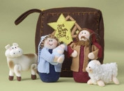 5 Piece Childrens Nativity Set Plush figures include Jesus Mary Joseph 1 ox and 1 lamb with  7 inch Carrying Case pieces range from 1 and 1 half to 5 inches tall RO20967