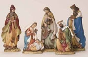 5 Piece Contemporary Nativity Set  Includes Jesus with Mary Joseph and 3 kings Slim Pieces Soft Colors of resin standing 6 To 8 inches tall RO35847