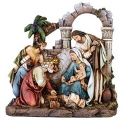 1 Piece Nativity showing Holy Family With Kings in front of Arched Backdrop 8 and 1 half inches tall RO36922