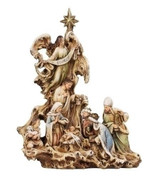Unique Design Depicts Holy Family Shepherd Wise Men & Angel on Wood Look Resin stands 12 inches high RO36926